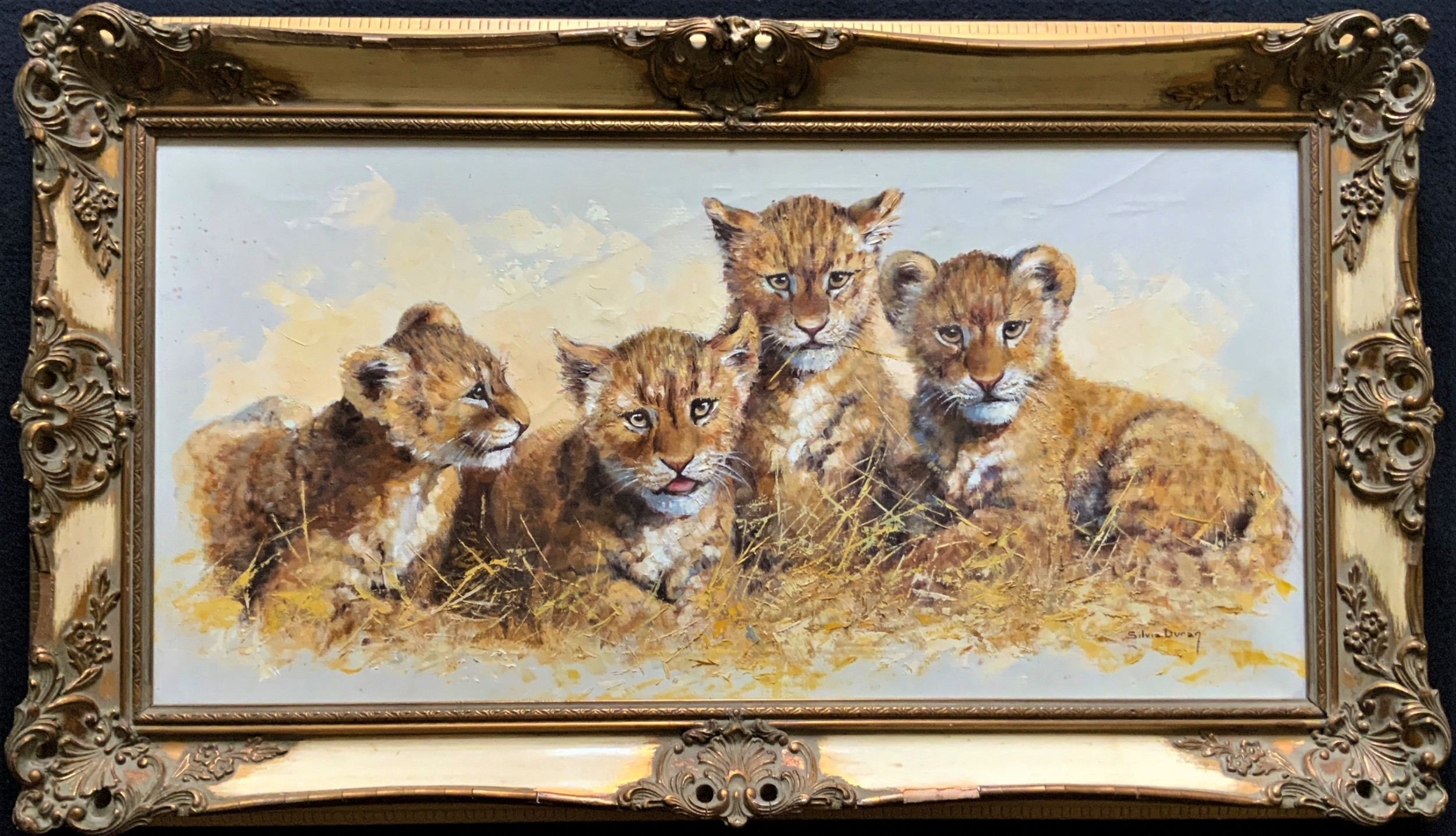 exceptional 'pride of lion cubs' large wildlife oil painting by 'silvia duran'