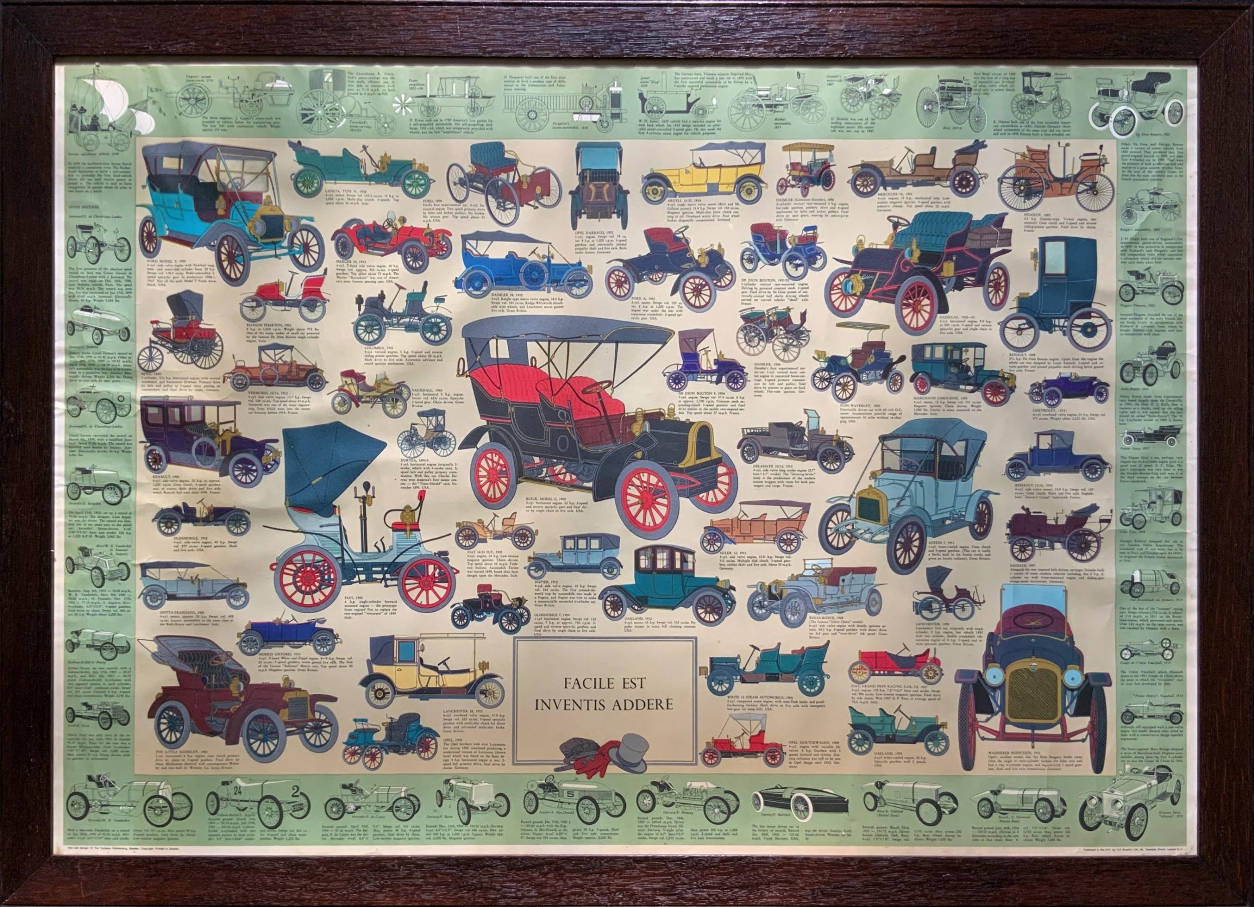 intriguing very large 1960s oak framed vintage car automotive lithograph poster