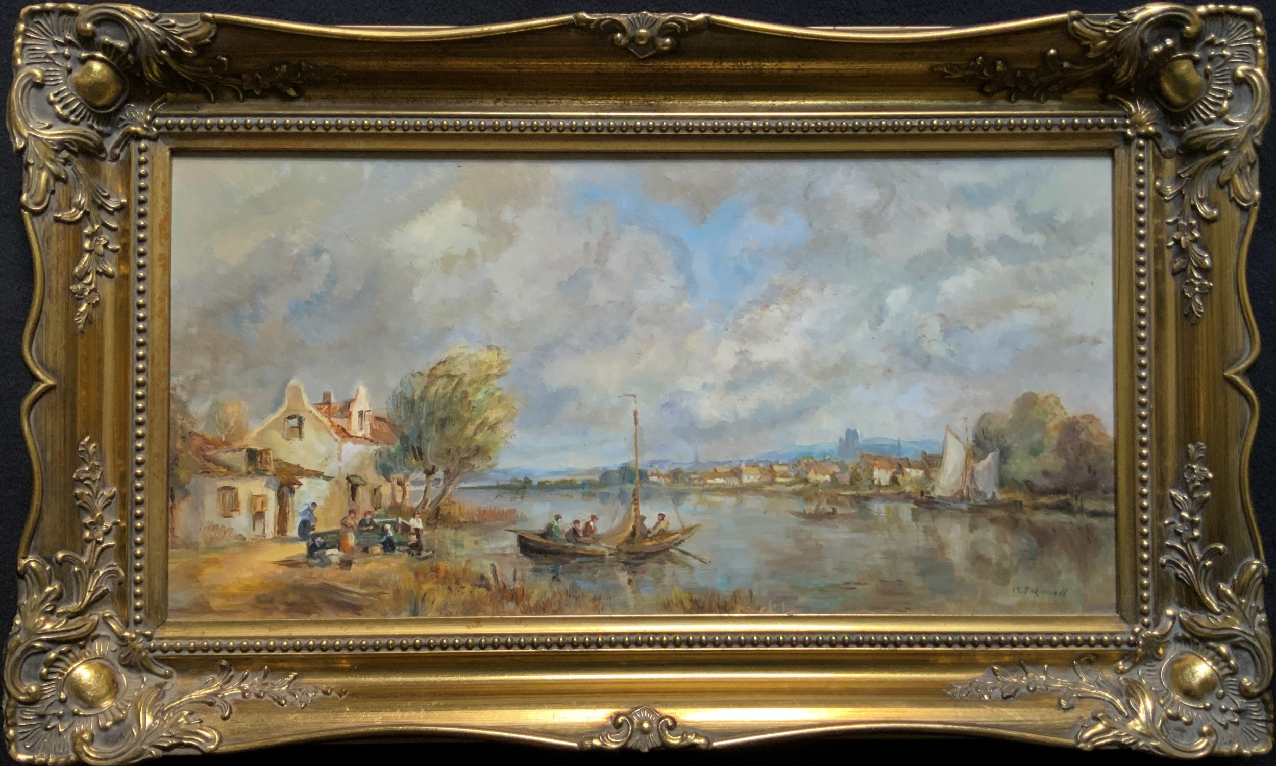 a beautiful original signed continental impressionist riverscape oil painting