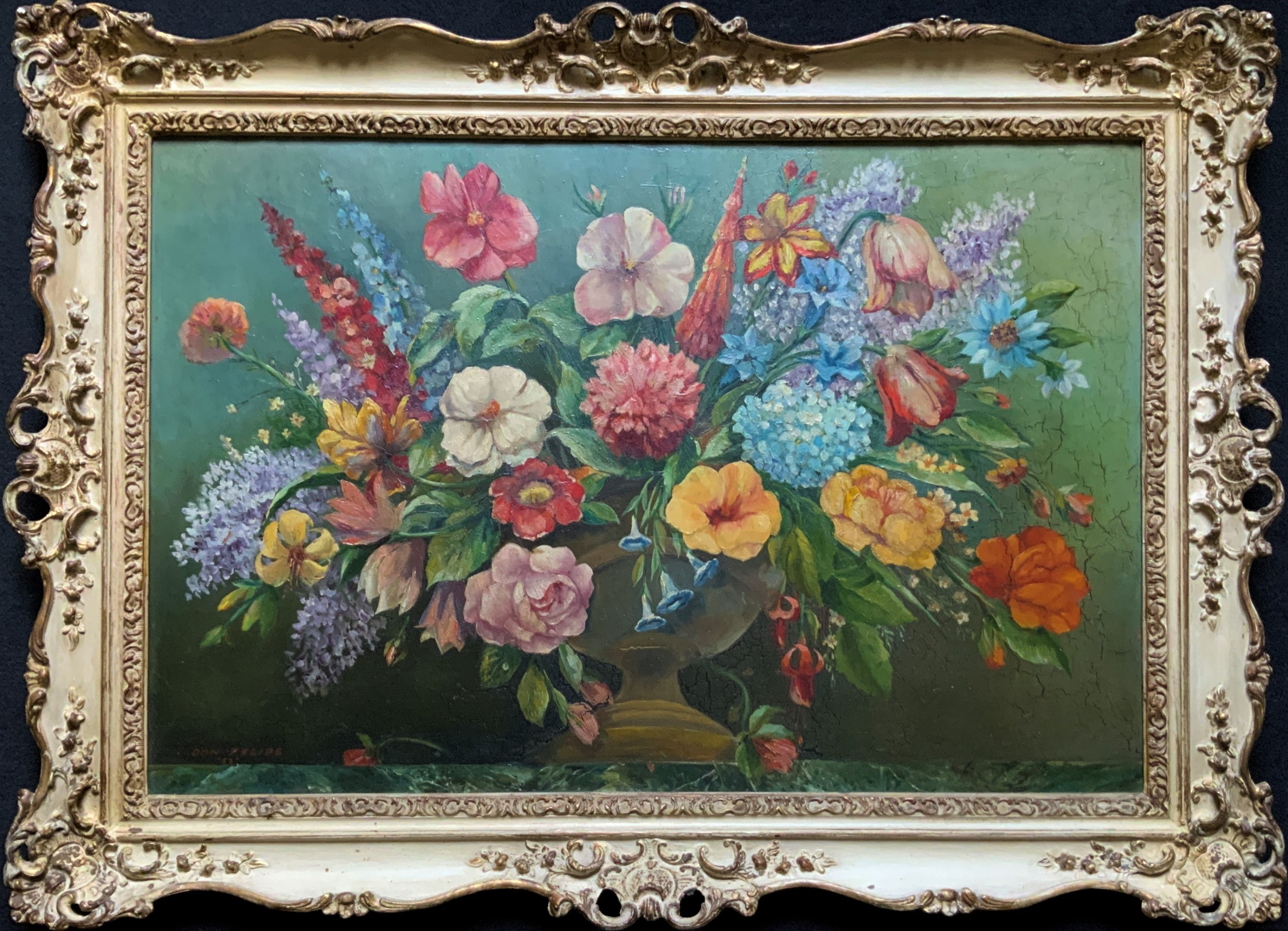 an extraordinary original 1952 vintage french still life of flowers oil painting