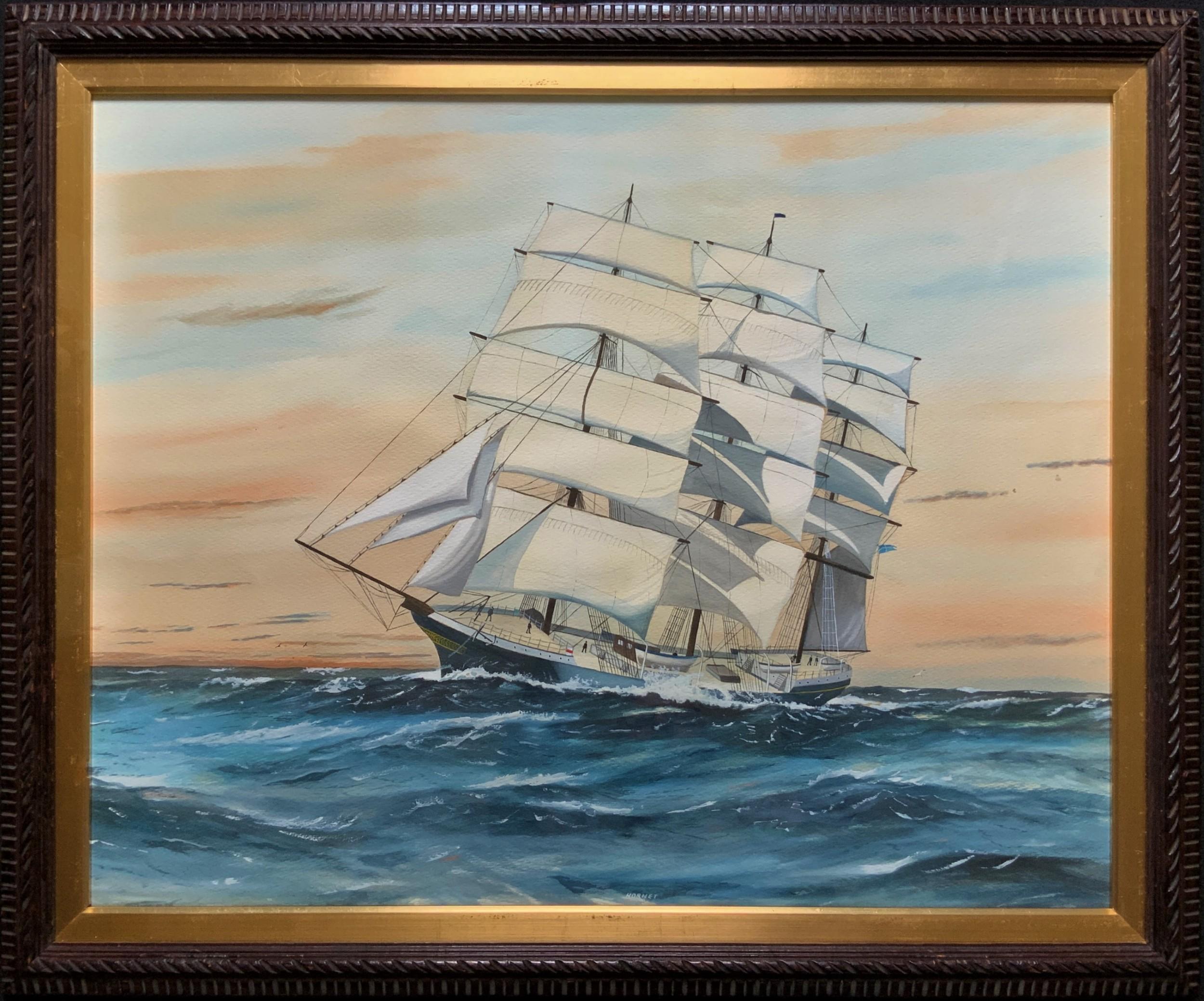 awesome c1909 tea clipper ship 'hornet' rough seas seascape watercolour painting
