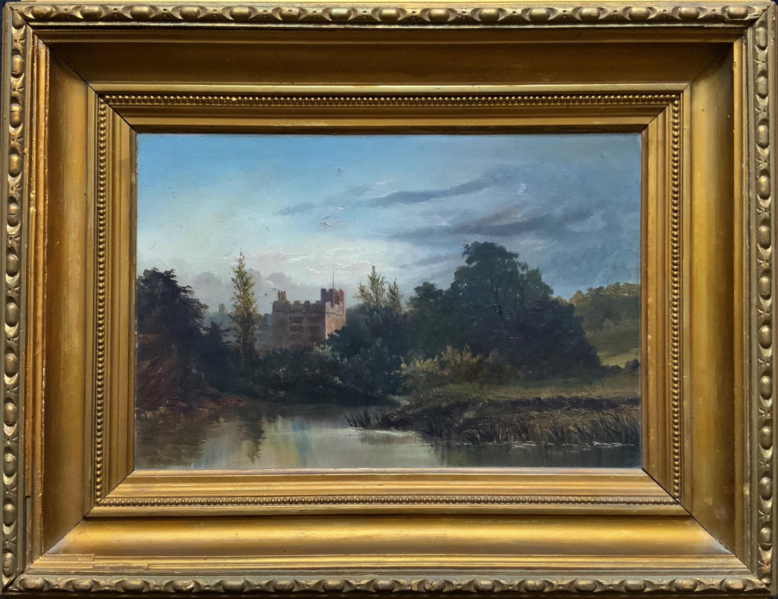 a lovely original mid19thc antique british castle river landscape oil painting