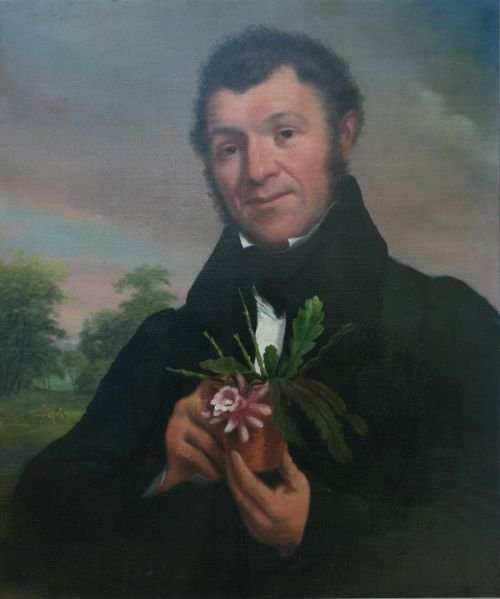 portrait of charles mcintosh 17941864 hoticulturist and gardener holding a epiphyllum plant specimen english school 19th century