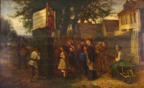 children watching the punch and judy show at the village green by thomas smythe 18251906