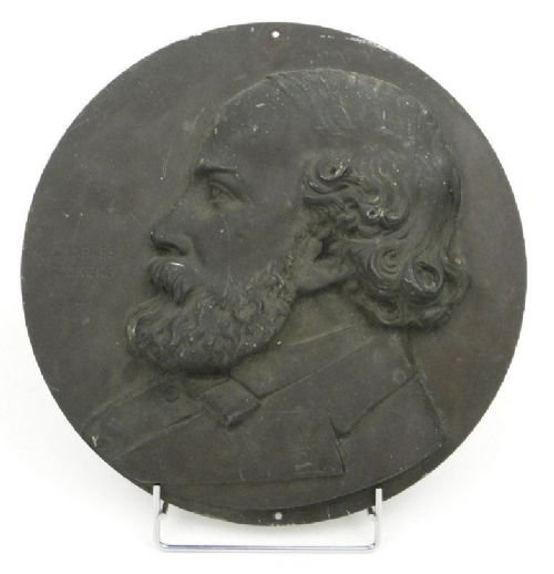 english school 19th century bronze portrait plaque in profile of charles dickens