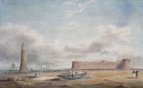 r i barrow 18th century perch rock fort and new brighton lighthouse the wirrall merseyside liverpool