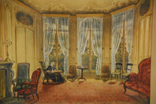 english school 19th century an interior of a drawing room with a seated lady writing