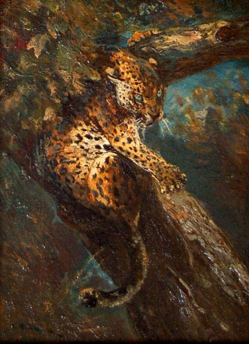 cuthbert edmund swan 18701931a leopard in a tree
