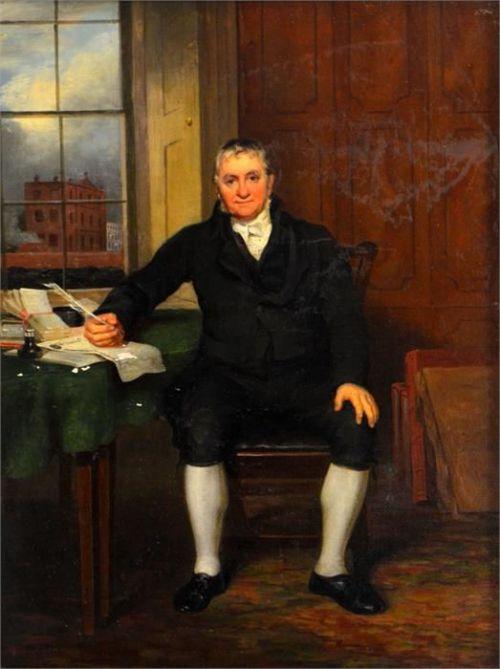 joseph clover 17791853portrait of john harris frewer 17811816 sadler brewer of norwich norfolk seated at his desk
