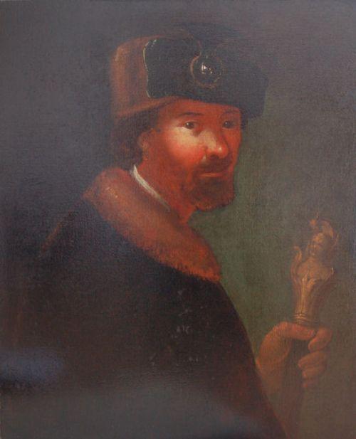 german school 17th centuryportrait of a merchant holding an ornate ivory staff