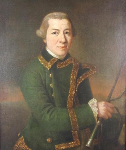 francis cotes 1726 1770portrait of a gentleman huntsman wearing a green coat trimmed with gold fringe holding a hunting whip