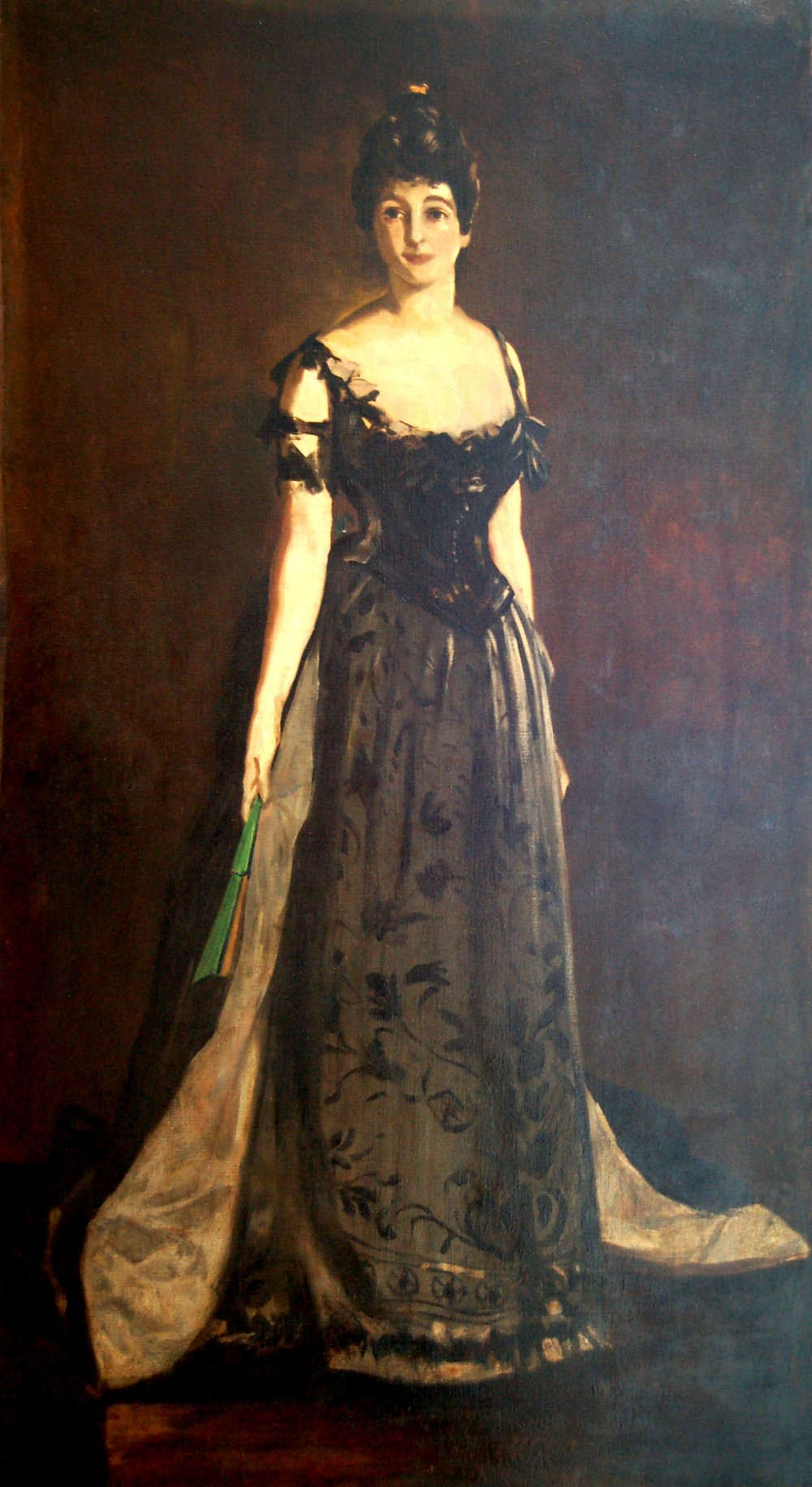 circle of john singer sargent 18561925portrait of an elegant lady in evening dress holding a fan