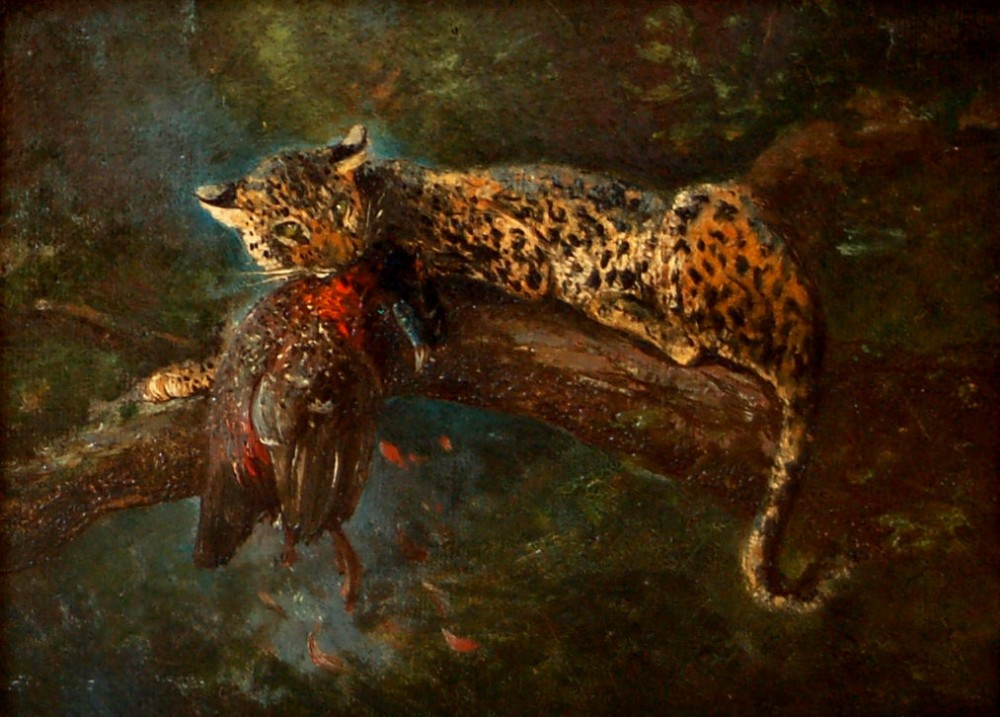 cuthbert edmund swan 18701931a leopard in a tree with its prey