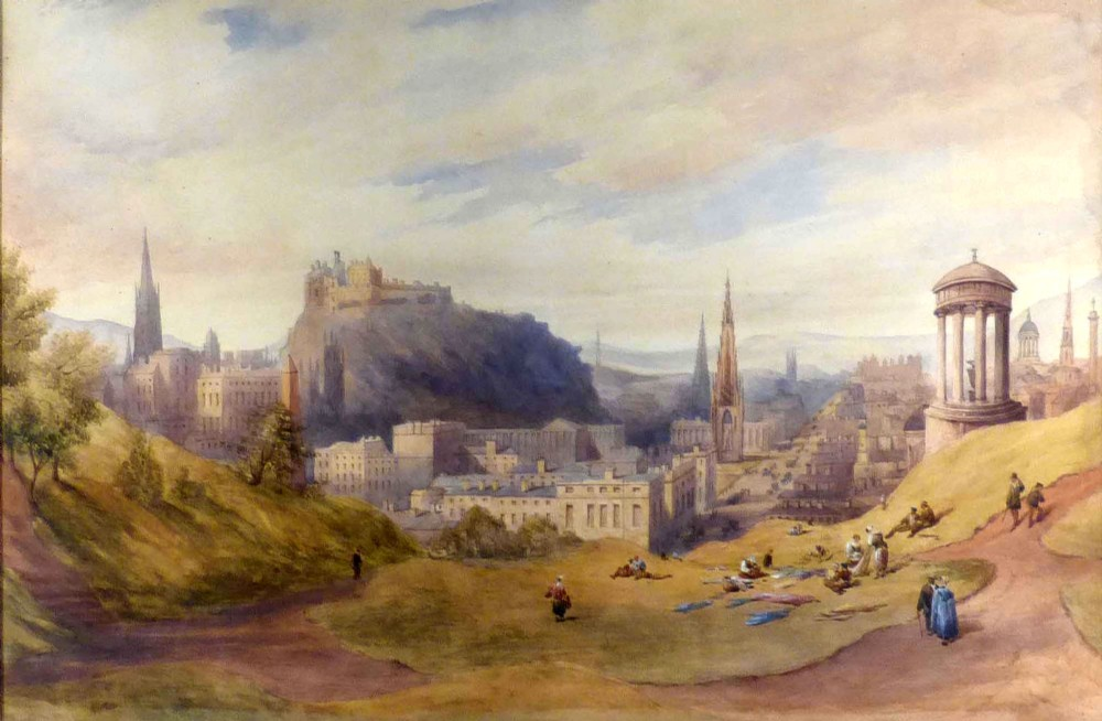 thomas hosmer shepherd 1792 1864a view of edinburgh city center and castle from calton hill with dugald stewart monument in the foreground