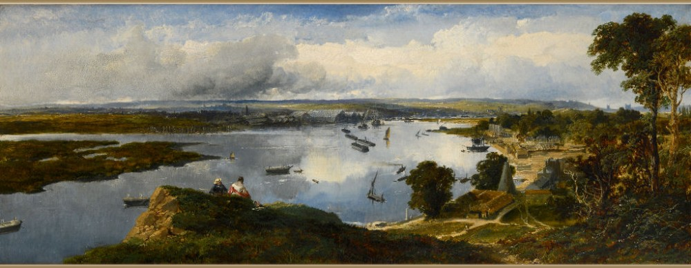 edmund john niemann 18131876panorama of the medway from upnor hill with chatham and dockyard in the distance rochester beyond