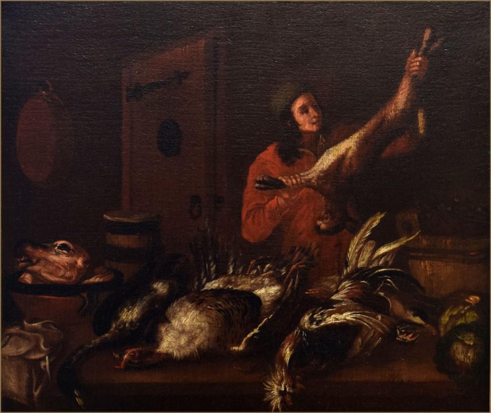 dutch school 18th centurya young man arranging game in larder