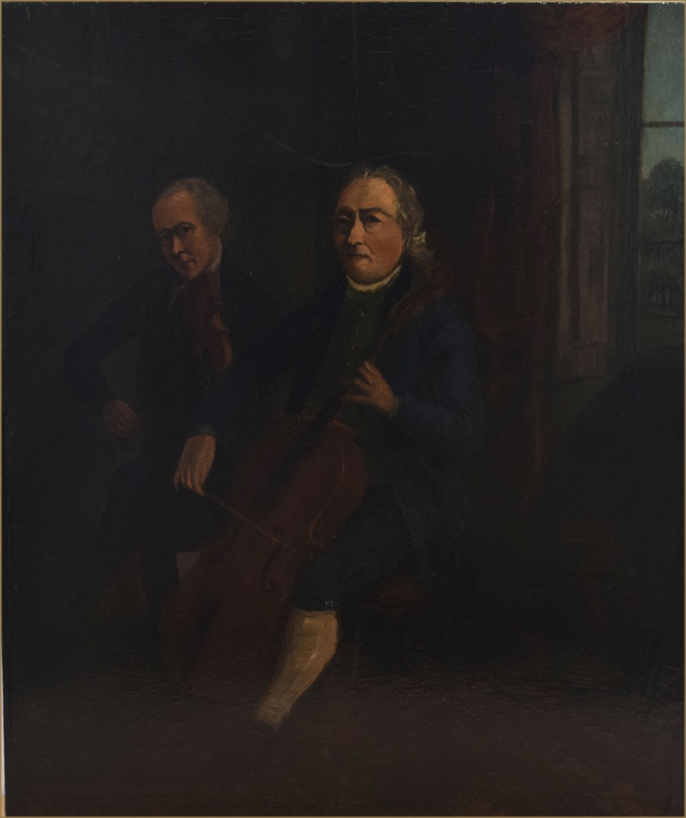 circle of francesco renaldi 1755 circa 1799a portrait of two musicians performing a violin and cello duet in an interioroil on panel58 x 50 cm 23 x 20 in