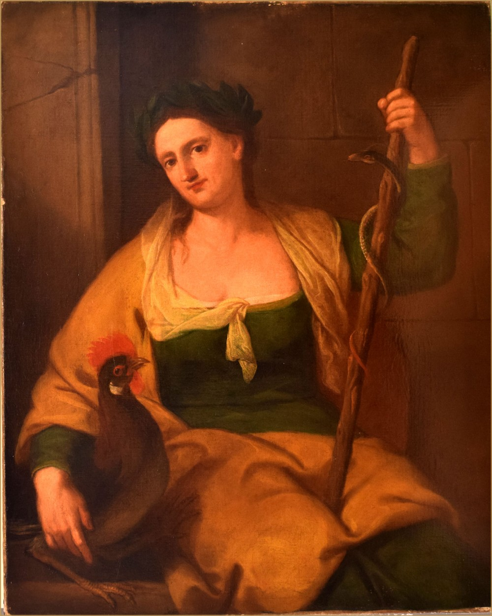 attributed to angelica kauffman 1741 1807portrait of a lady as the greek goddess hygieia accompanied with her symbols a rod serpent cockerel