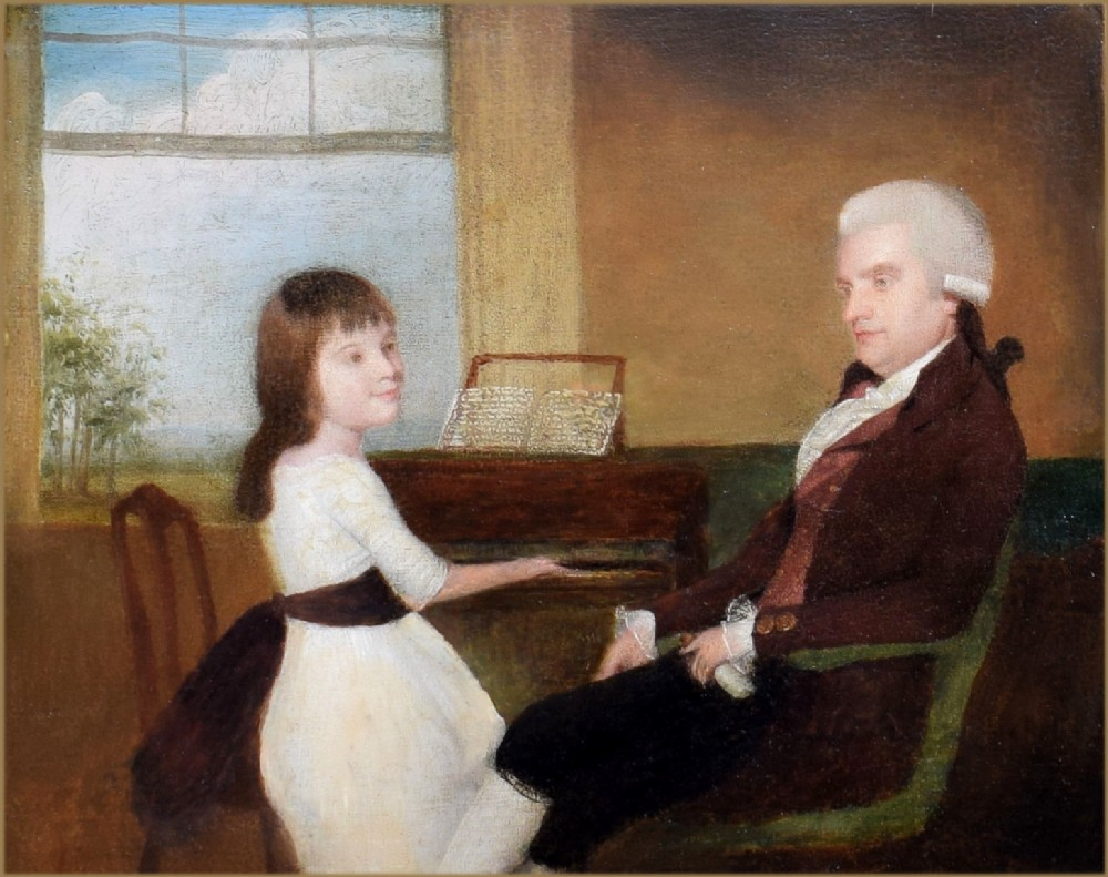 francis alleyne 1750 1815nathaniel clifton md 17511822 his daughter sophia 17791835 seated at a spinet