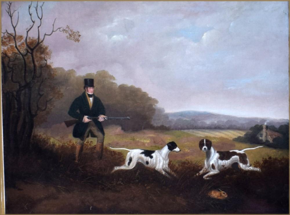 samuel john egbert jones 17971861a landscape with sportsman his pointers hunting rabbits