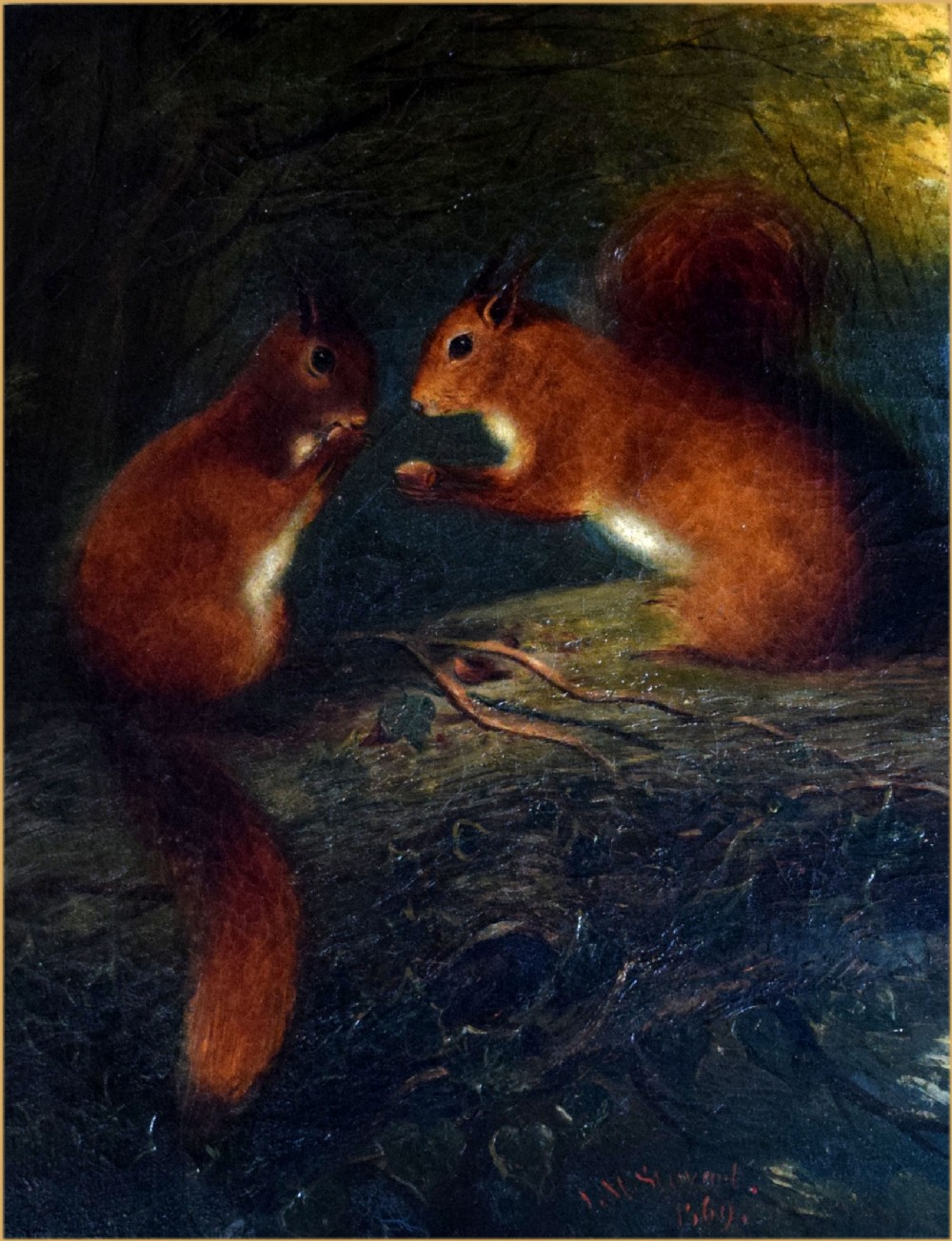 james malcolm stewart 1829 1916a pair of red squirrels feeding on a branch