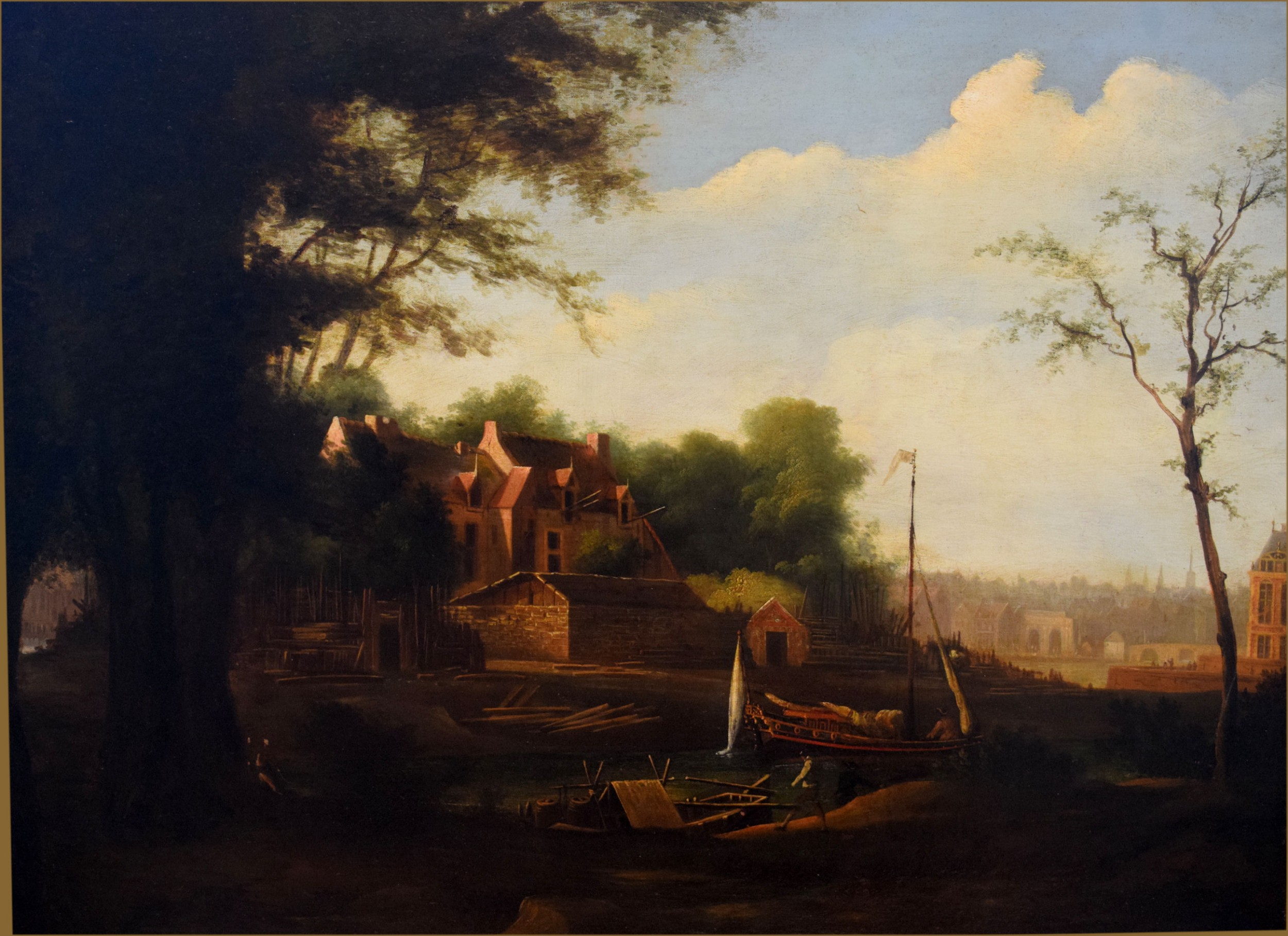 attributed to jacob knyff 1639 1681a shipyard off the river thames deptford with an admiralty yacht barge in the foreground