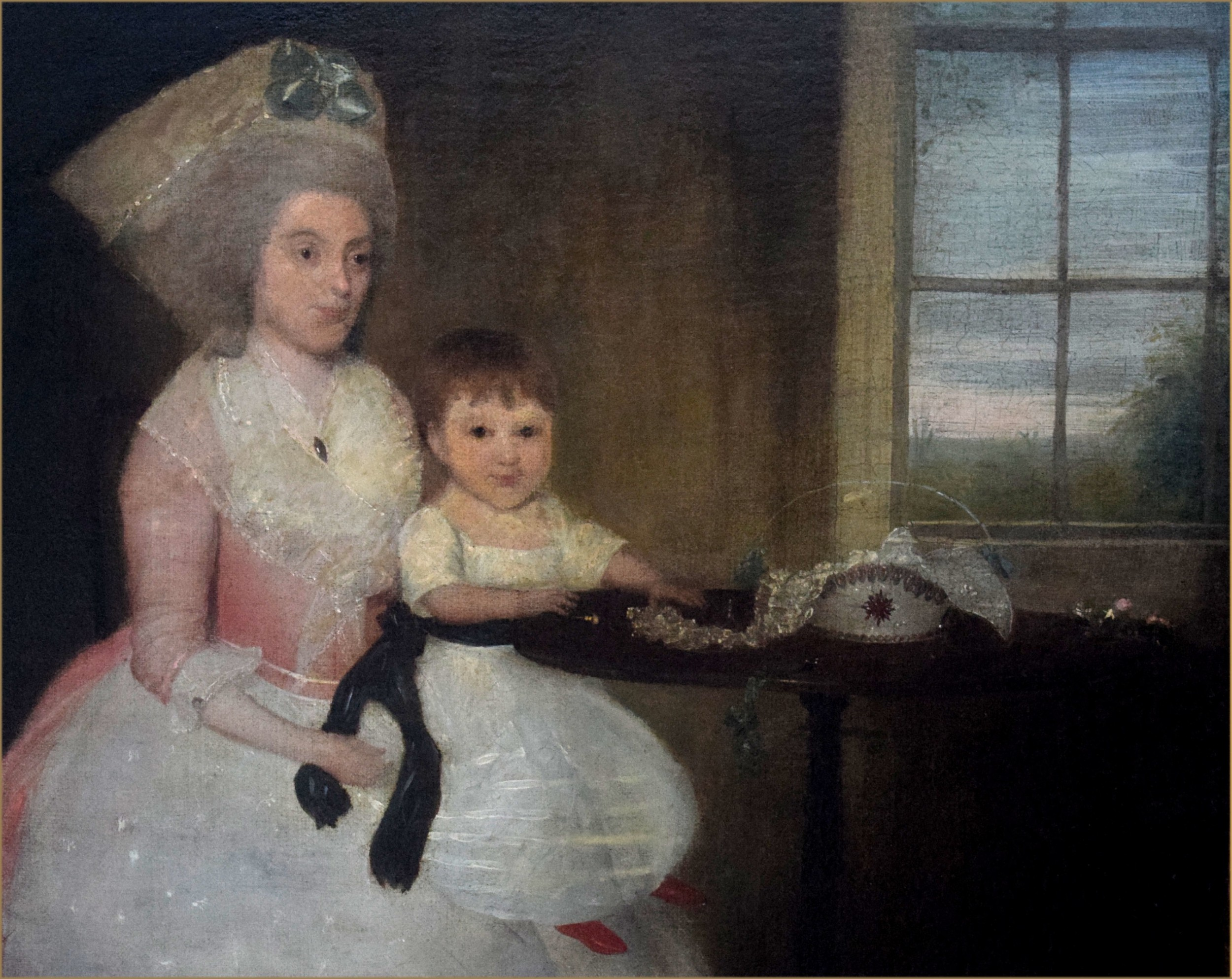 francis alleyne 1750 1815portrait of mrs ann clifton 17531820 and her son nathaniel sated by a table