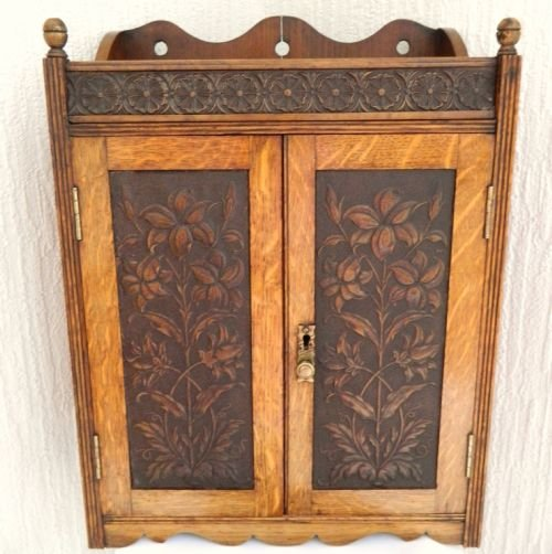 arts crafts oak wall cabinet