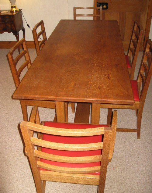 heals oak arts crafts dining table 6 chairs - photo angle #2