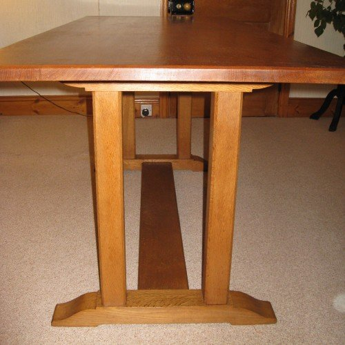 heals oak arts crafts dining table 6 chairs - photo angle #3
