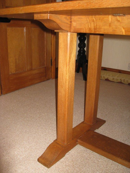 heals oak arts crafts dining table 6 chairs - photo angle #4