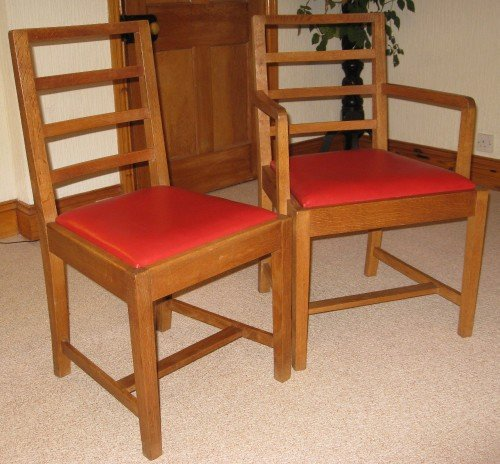heals oak arts crafts dining table 6 chairs - photo angle #5