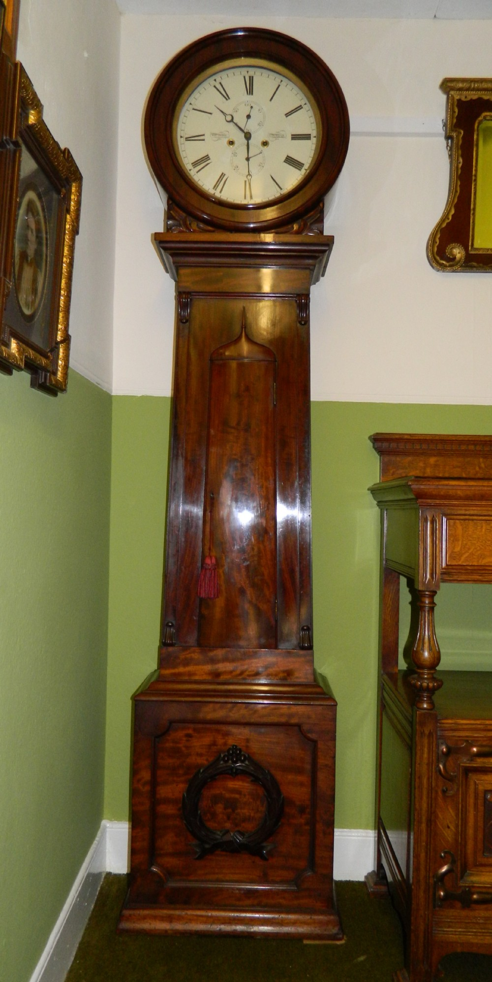 8 Day Scottish Drumhead Grandfather Clock 266396