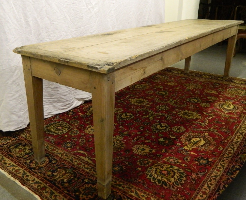 large 10' scrubbed pine table
