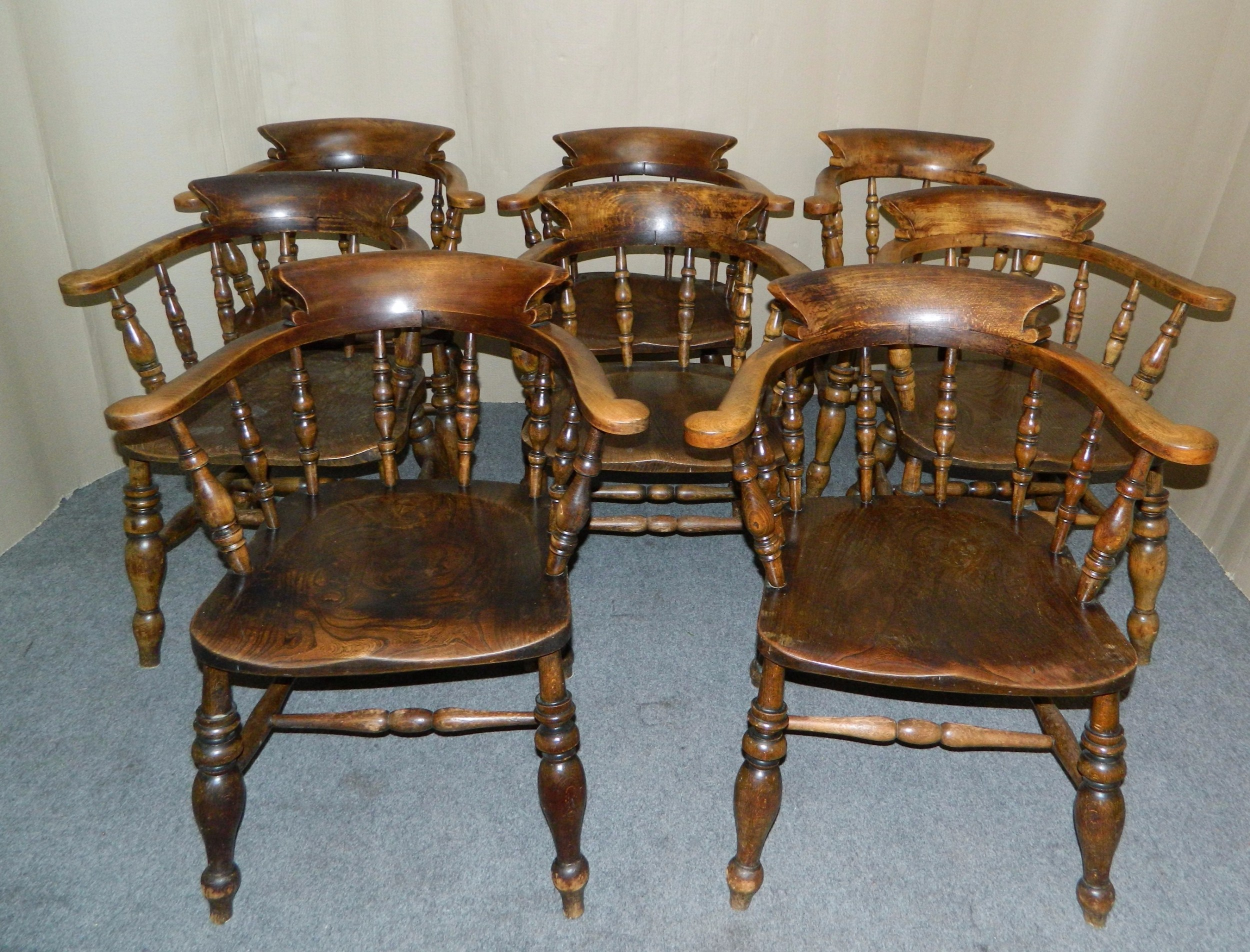set of 8 smokers bow chairs