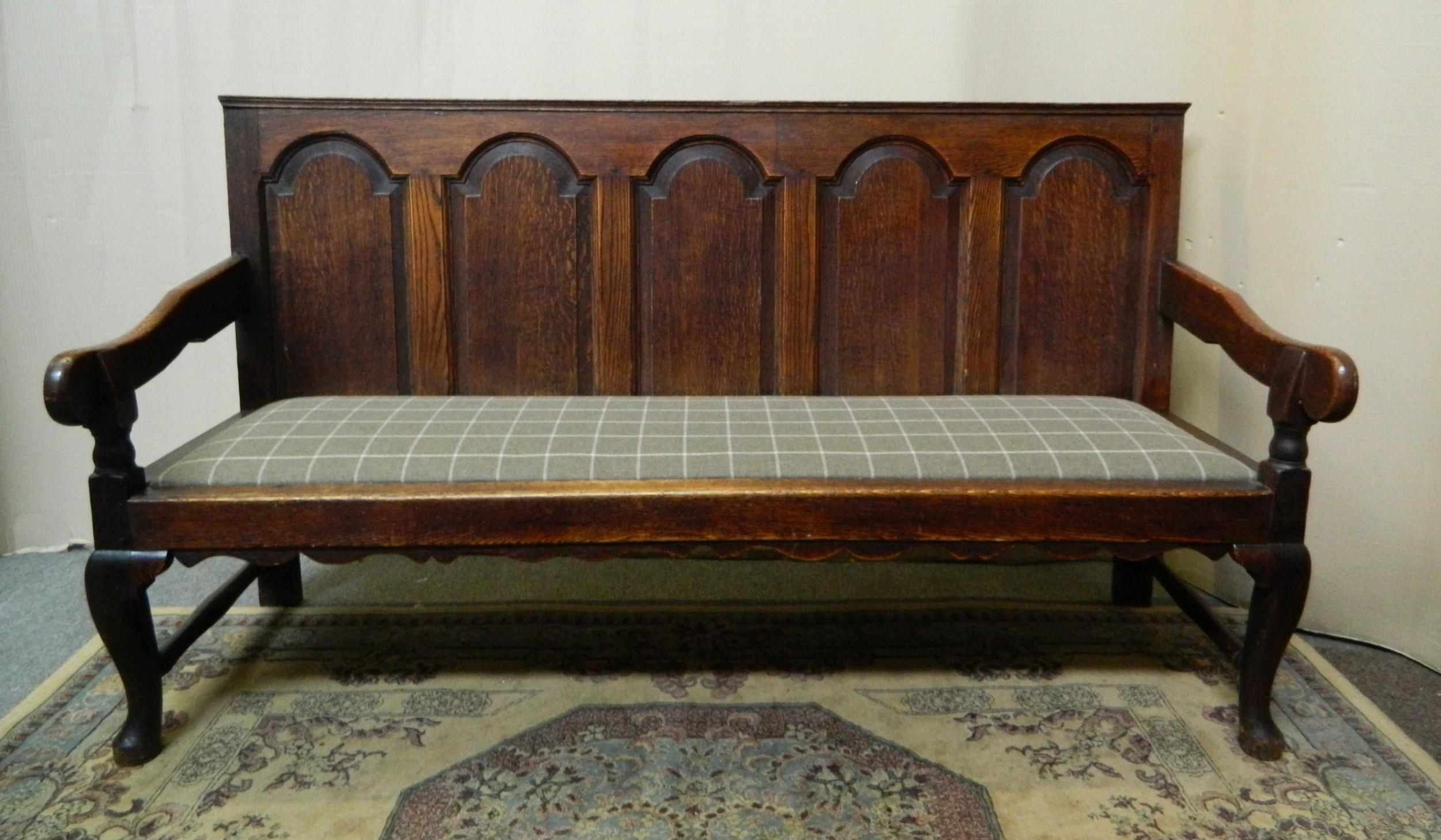 large georgian oak bench settle
