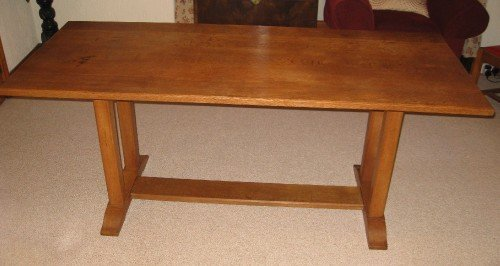heals oak arts crafts dining table 6 chairs