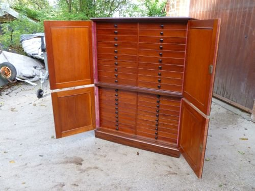 superb 40 drawer mahogany collectors cabinet - photo angle #2