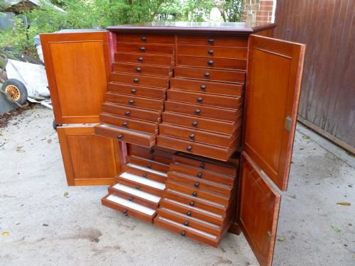 superb 40 drawer mahogany collectors cabinet - photo angle #3