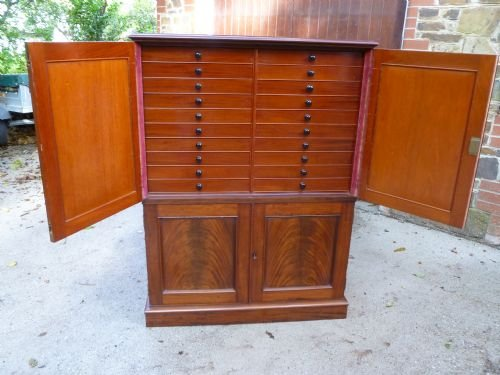 superb 40 drawer mahogany collectors cabinet - photo angle #4