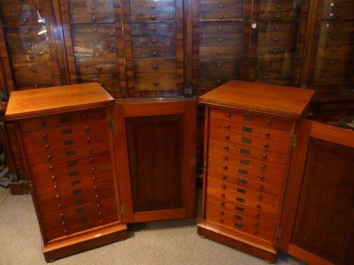 fine pair of antique mahogany collectors cabinets by standish - Fine Pair Of Antique Mahogany Collectors Cabinets By Standish