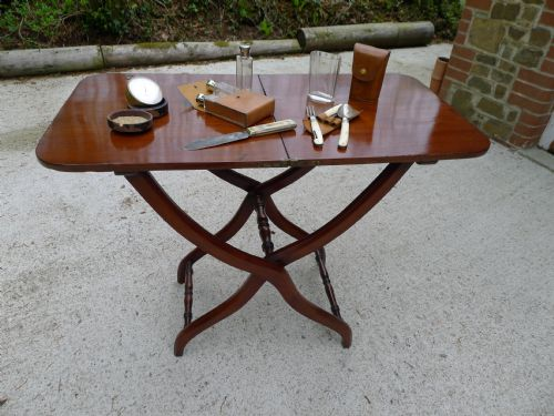 Genial A Superb Victorian Mahogany Folding Campaign Table With Turned And Shaped  Legs Circa 1860