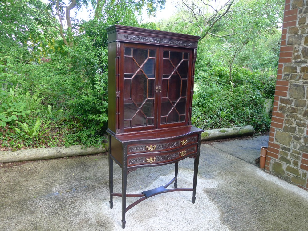 late victorian mahogany astragal glazed display cabinet on stand