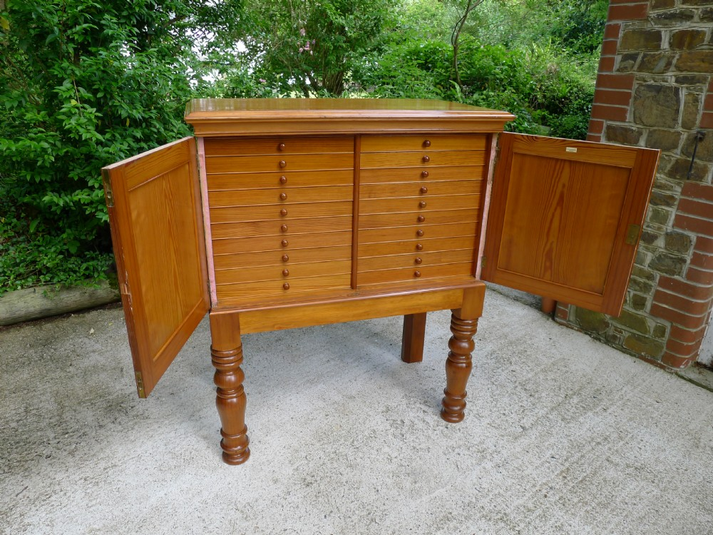an absolutely superb and rare 20 drawer collectors cabinet by chlongley circa 1880