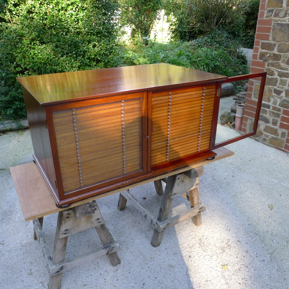 a superb edwardian mahogany slide cabinetcollectors cabinet circa 1900 44 drawers