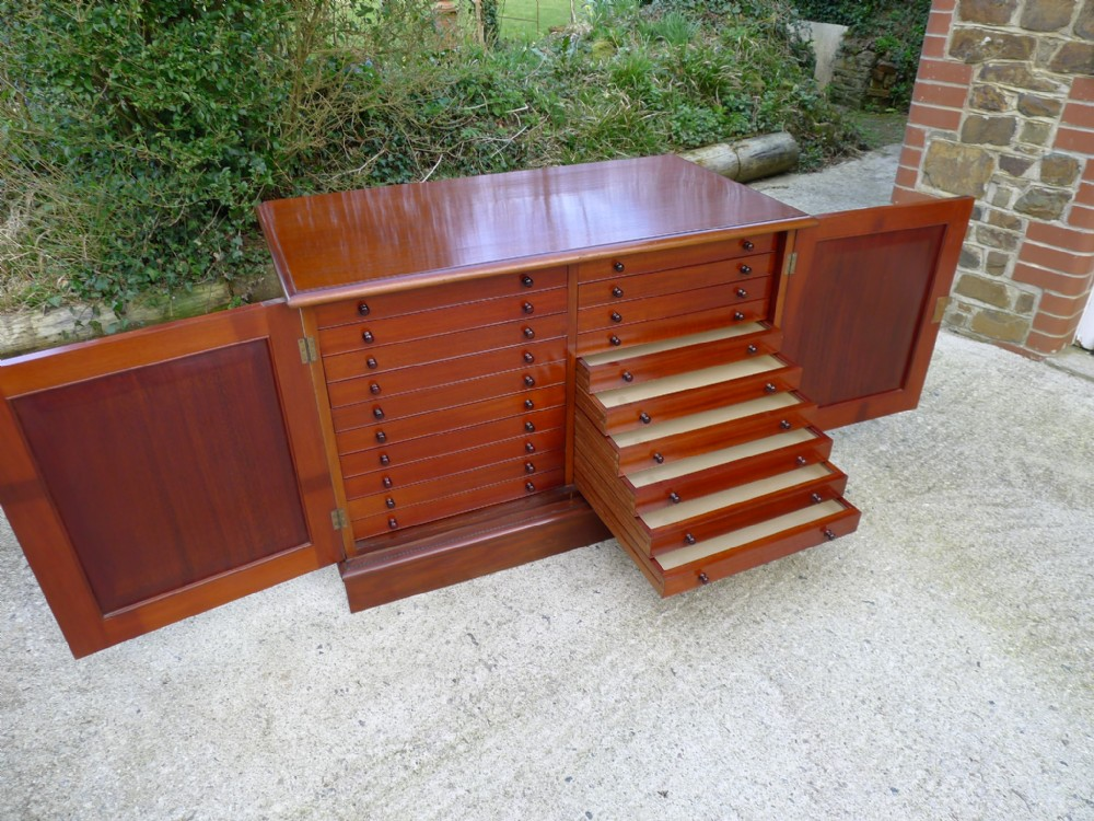 an excellent 20 drawer late victorian mahogany collectors cabinet circa 1900 continental depth drawers