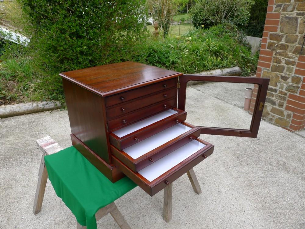 a good six drawer victorian mahogany collectors cabinet circa 1870