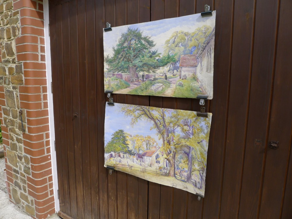 an interesting pair of victorian water colours of views of earthampsted church berkshire