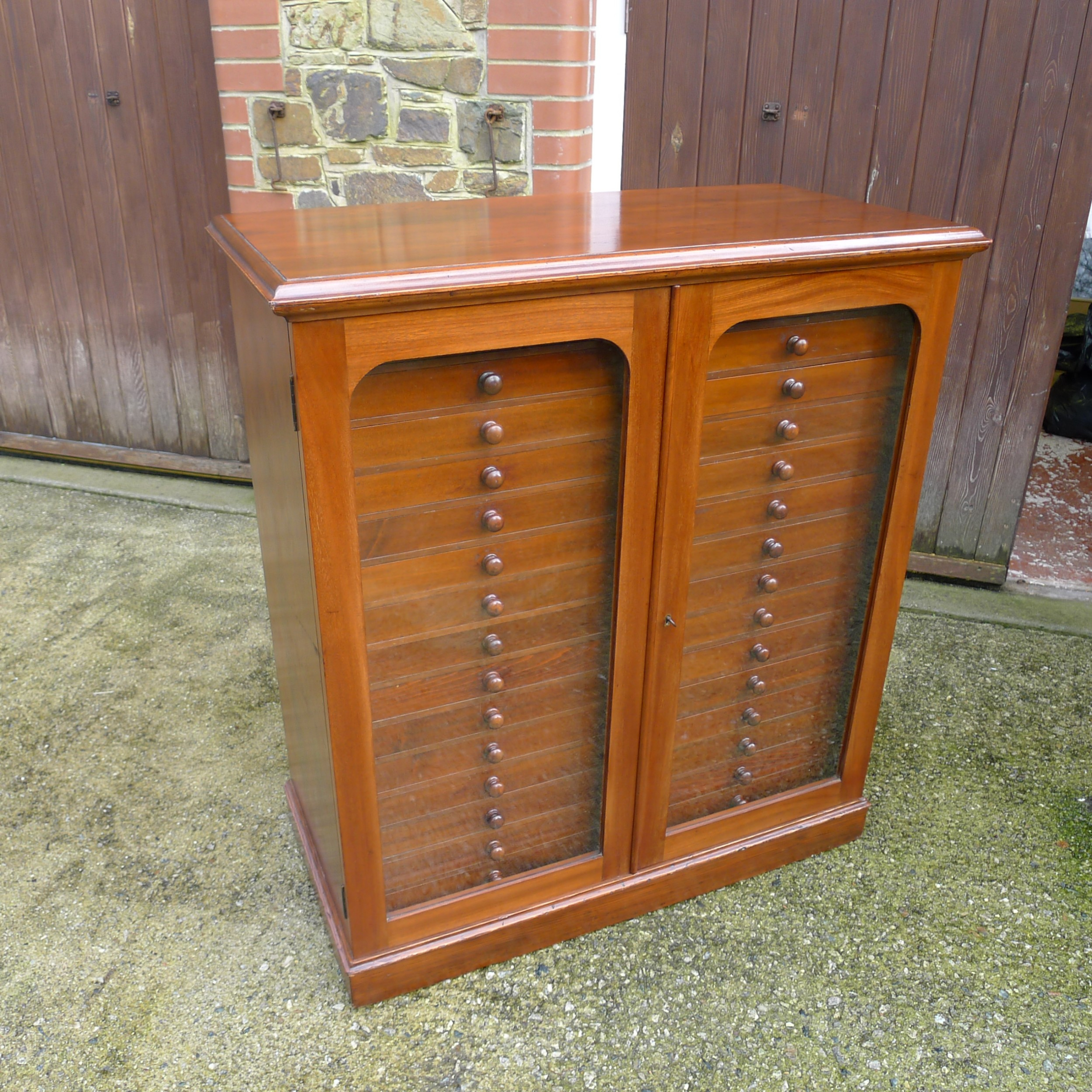 a good 30 drawer watkins doncaster collectors specimen cabinet in satin walnut and mahogany circa 1900