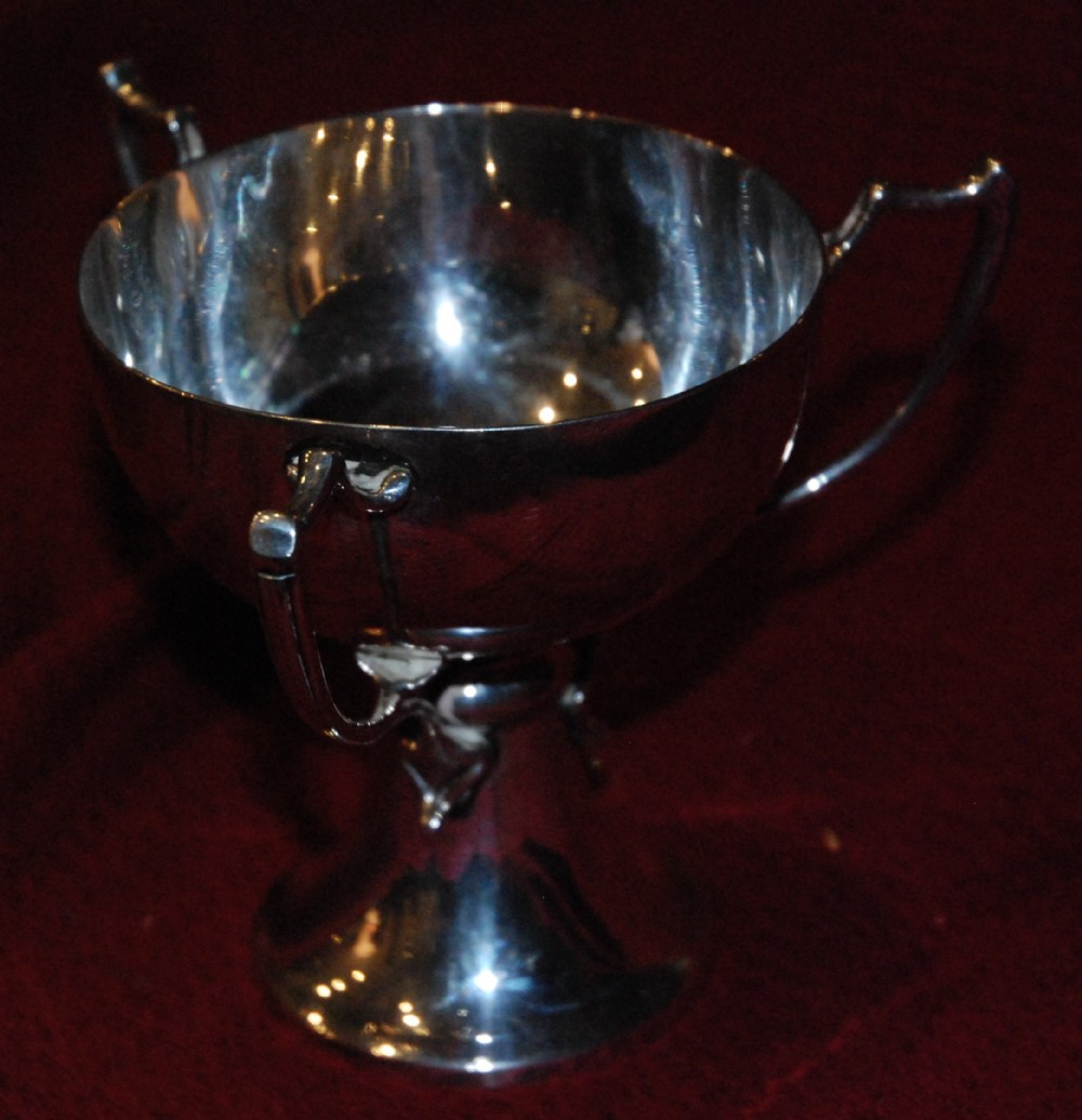 arts crafts silver threehandled drinking vessel